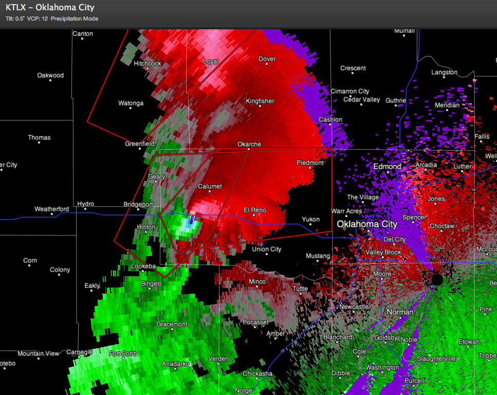 Large Wedge Tornado Along I-40 West of OKC