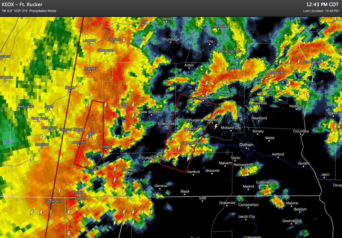 Tornado Warnings Over Southeast Alabama