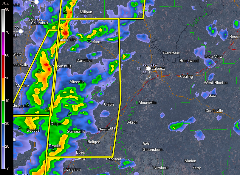 Severe Thunderstorm Warning for  Greene, Pickens, Sumter till 8:00 AM CST