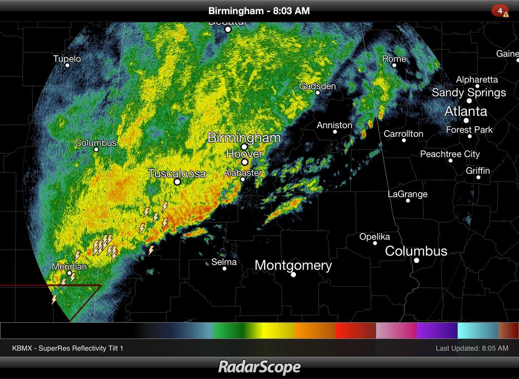 Rain/Storms Moving South