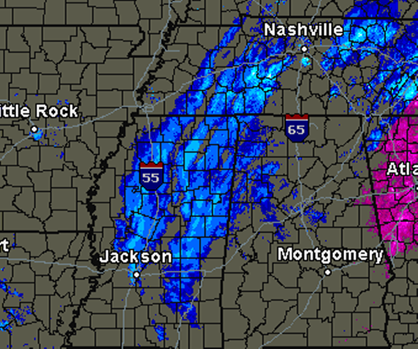 Snow Moving into Alabama