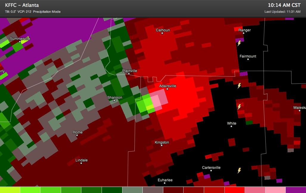 Adairsville GA Hit by Large Tornado