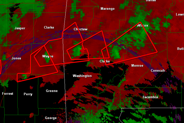 Numerous tornado signatures in Southern Mississippi and Alabama.