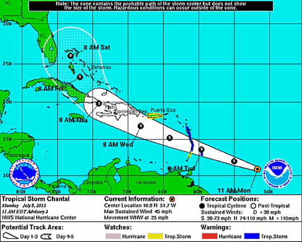 Chantal Still Moving West-Northwest Rapidly