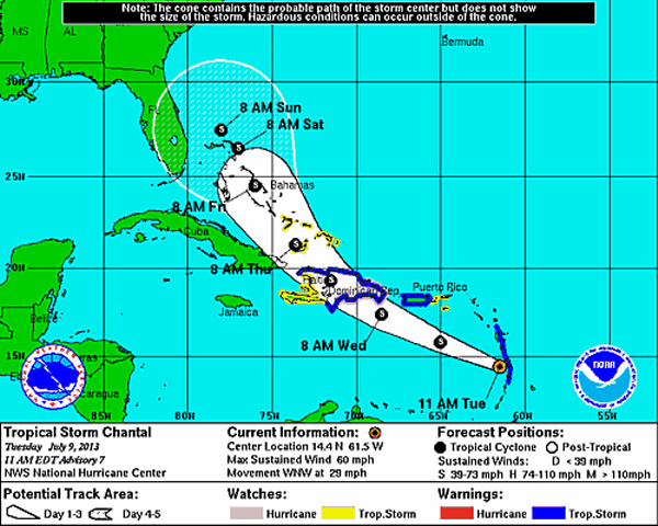 Chantal Strengthens, Moving Rapidly