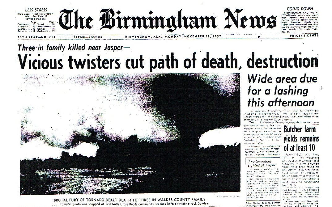 On This Date in 1957:  A Second Day of Vicious Weather For Alabama