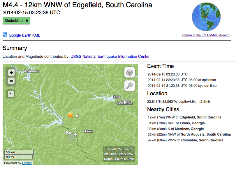 Earthquake in GA/SC