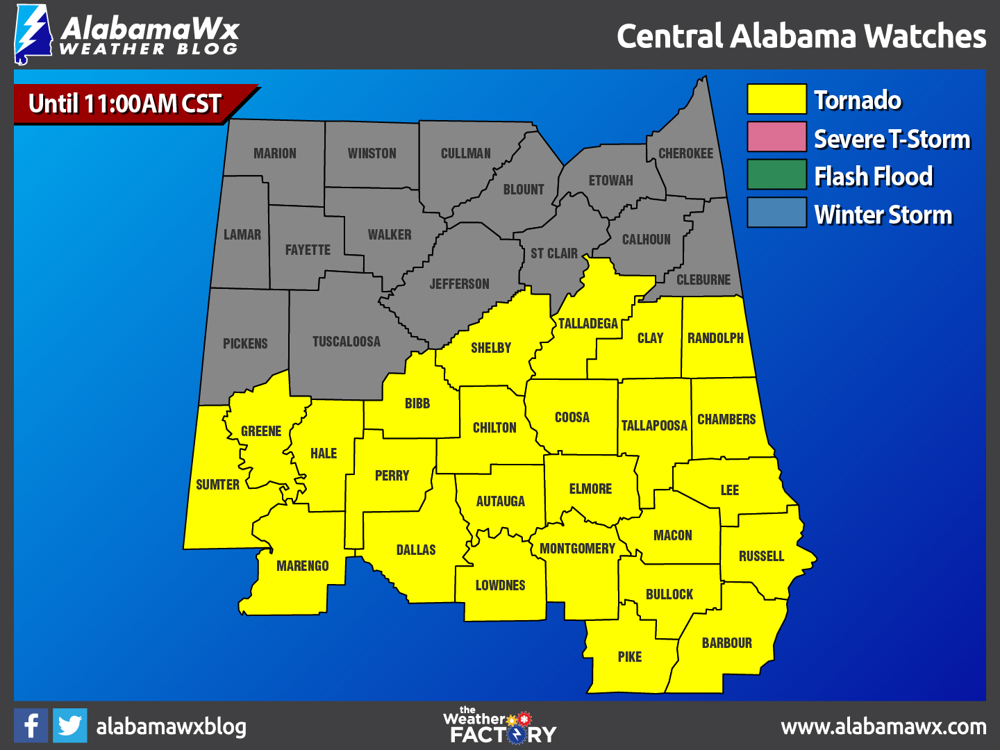 A New Tornado Watch For Parts Of Central Alabama Until 11:00 AM CST ...