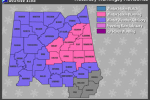 Winter Storm Warning & Winter Weather Advisory Now Up For Central Alabama