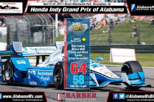 Raceday Forecast Update: Honda Indy Grand Prix of Alabama
