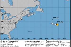 Arlene Forms:  Rare April Tropical Storm