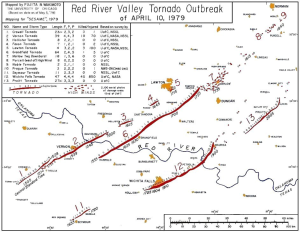 Map Of North Texas And Oklahoma.Terrible Tuesday April 10 1979 The Alabama Weather Blog