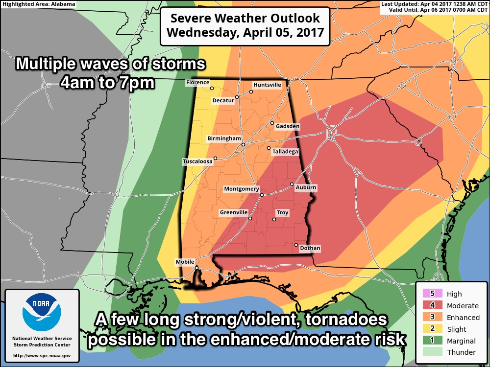 Potentially Dangerous Situation Tomorrow | The Alabama