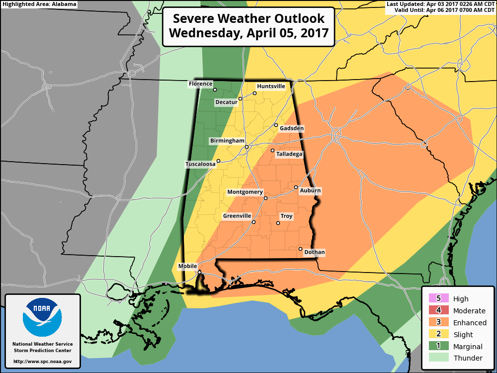 Another Severe Weather Threat Wednesday | The Alabama