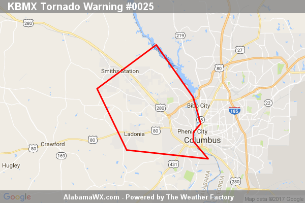 Tornado Warning Issued For Parts Of Lee And Russell Counties Until 11:45AM