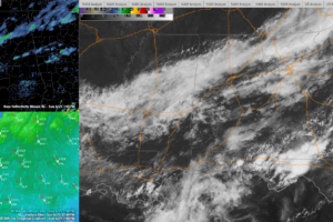 Still Heavy Clouds to the North and Southwest; A Few Light Showers as Well