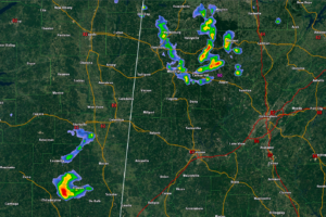 2 pm Radar Update:  Showers/Storms NW Alabama, Eastern Mississippi