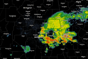 Heavy Rains Continue To Fall Over Southeastern Portions of Central Alabama