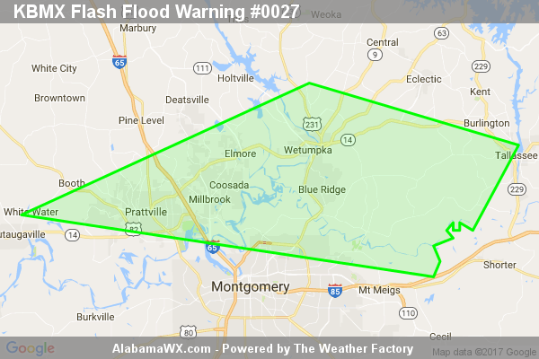 Flash Flood Warning Issued For Parts Of Autauga, Elmore, And Montgomery Counties Until 7:00PM