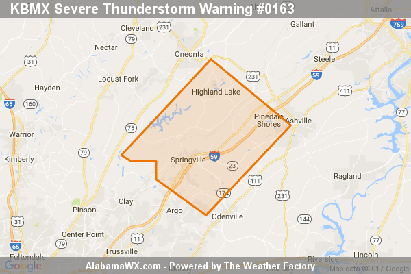 Severe Thunderstorm Warning Issued For Parts Of Blount And St. Clair Counties Until 7:30PM