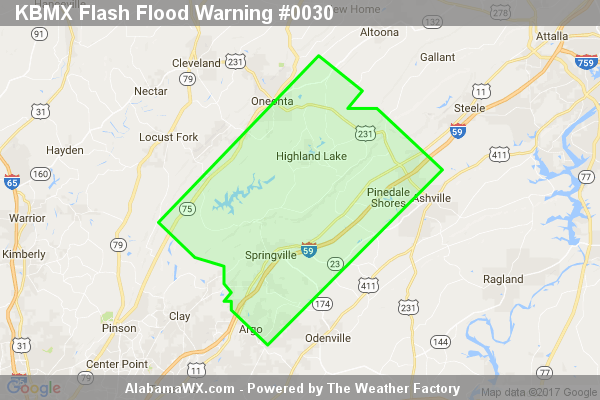 Flash Flood Warning Issued For Parts Of Blount And St. Clair Counties Until 8:45PM