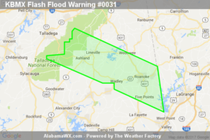 Flash Flood Warning Extended For Parts Of Chambers, Clay, And Randolph Counties Until 1:00AM