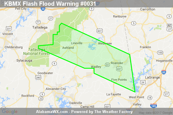 Flash Flood Warning Continues For Parts Of Chambers, Clay, And Randolph Counties Until 11:00PM