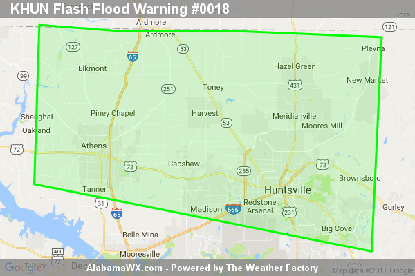 Flash Flood Warning Issued For Parts Of Limestone And Madison Counties Until 1:00AM