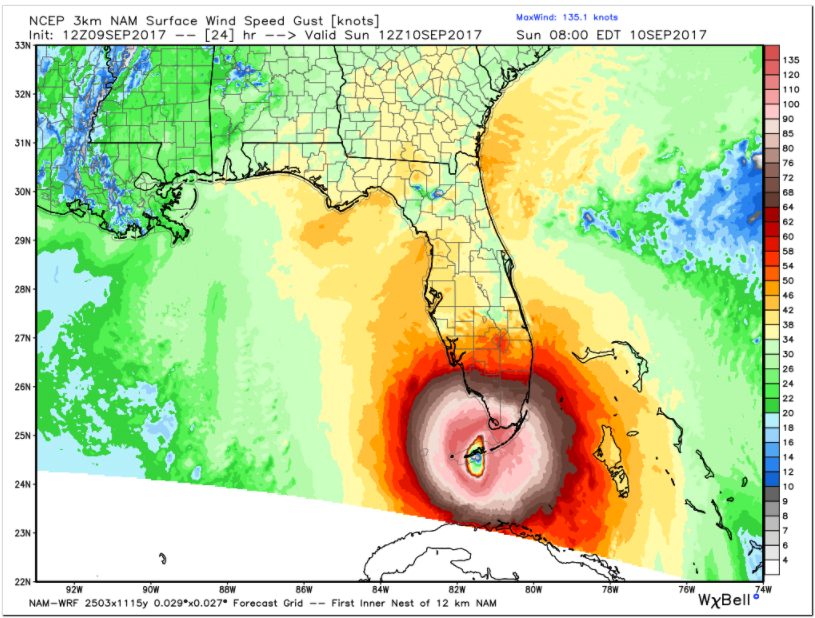 Here Is The 3 Km NAM For Tomorrow Morning Showing A 924 Mb Hurricane Near Marathon In Keys With Top Winds Of 155 Mph