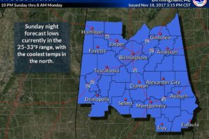 Freeze Watch Issued For Central Alabama For Sunday Night & Monday Morning