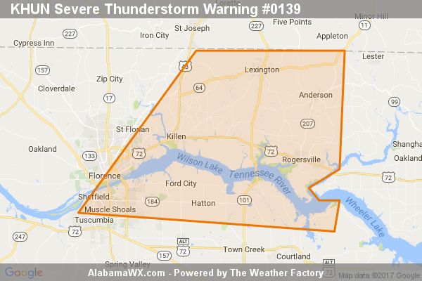 Severe Thunderstorm Warning Issued For Parts Of Colbert, Lauderdale, And Lawrence Counties Until 5:30PM