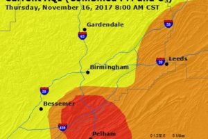Unhealthy Air Quality Across & South Of The Birmingham Metropolitan Area This Morning