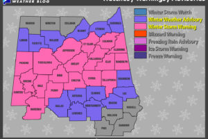 Winter Weather Advisory Extended Southward, Some Road Closures Reported