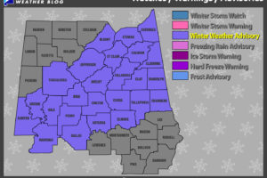 UPDATE: Winter Weather Advisory For Parts Of Central Alabama On Friday 3AM-6PM