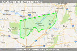 Areal Flood Warning Issued For Parts Of Cullman, Dekalb, Jackson, Madison, Marshall, And Morgan Counties Until 1:45PM