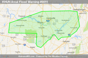 Areal Flood Warning Issued For Nearly All Of North Alabama Until 1:00PM