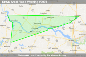 Areal Flood Warning Issued For Parts Of Colbert, Lauderdale, And Limestone Counties Until 7:15AM