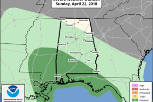 Rain Rolls Into Alabama Sunday