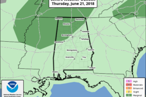 Midday Report: Marginal Risk Of Severe Storms For Parts Of North/Central Alabama