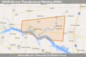 Severe Thunderstorm Warning Issued For Parts Of Lauderdale And Limestone Counties Until 5:30PM