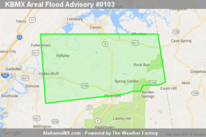 Areal Flood Advisory Issued For Parts Of Calhoun, Cherokee, And Etowah Counties Until 9:00PM