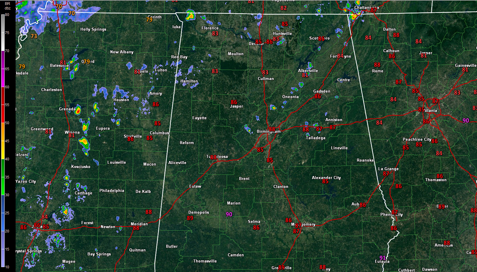 An Alabama Weather Update at 12:45 p m : A Few Showers