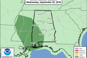 Rain Mainly For West Alabama Today