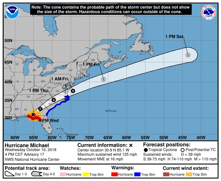 About 70 Miles Sw Of Albany Georgia Maximum Sustained Winds 125 Mph Present Movement Nne At 16 Mph Minimum Central Pressure 932 Mb