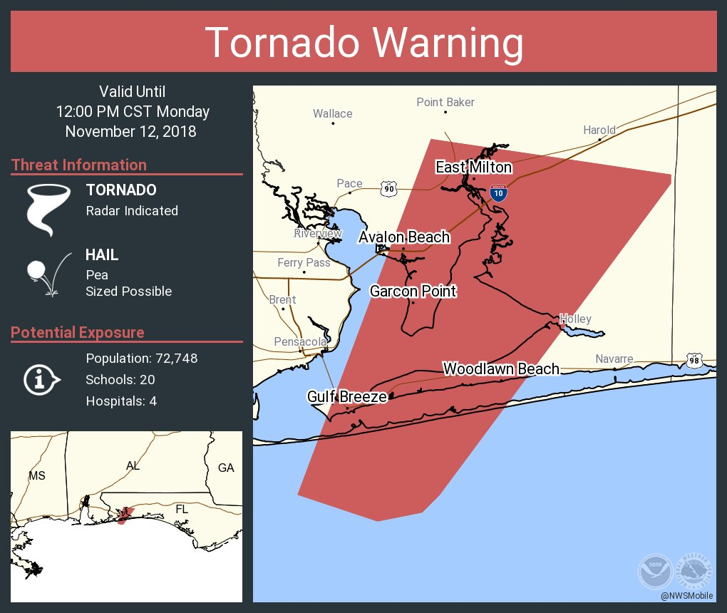 Florida Tornado Map.Another Tornado Warning Issued Just East Of Pensacola The Alabama