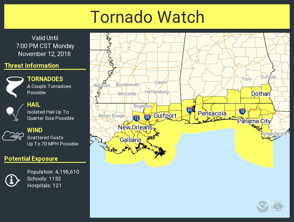 New Tornado Watch Issued For South Alabama Until 7:00 PM CST : The ...