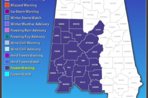 Freeze Warning Extended To 12:00 PM CST Thursday For Parts Of Central Alabama