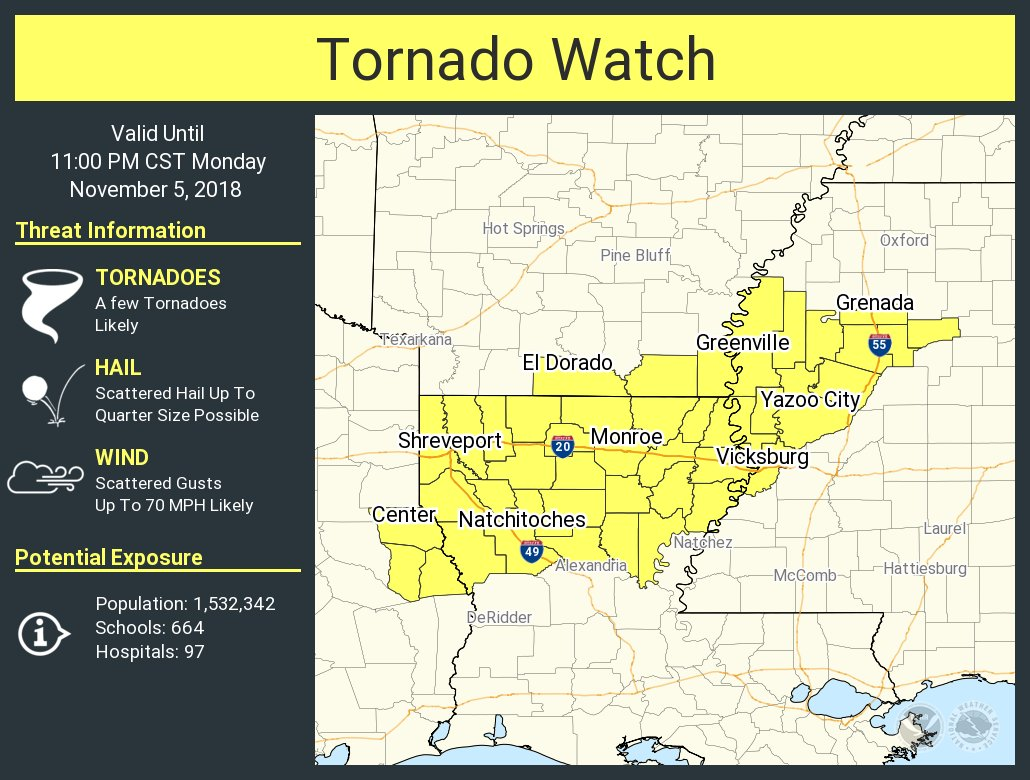 Tornado Watch Issued for Parts of Texas, Louisiana, Arkansas, and ...