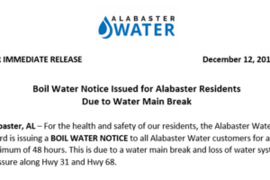 Alabaster Residents… Boil Water Notice Issued By Alabaster Water