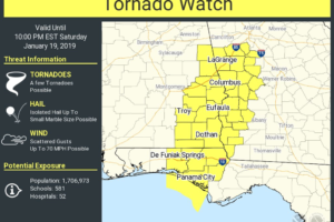 New Tornado Watch Issued For Parts Of Central Alabama Until 9:00 PM Tonight